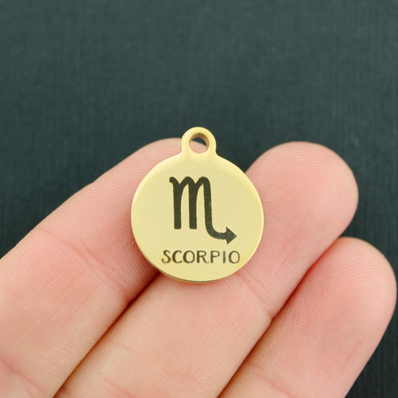 Zodiac Gold Stainless Steel Charm - Scorpio - Exclusive Line - Quantity Options - BFS1980GOLD