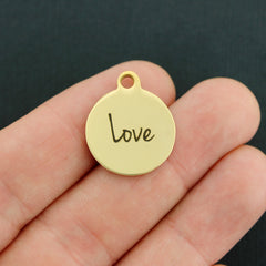 Love Gold Stainless Steel Charm - Exclusive Line - Quantity Options - BFS2161GOLD