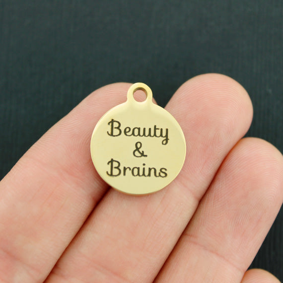Positivity Gold Stainless Steel Charm - Beauty & Brains - Exclusive Line - Quantity Options - BFS2178GOLD