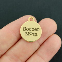 Sports Gold Stainless Steel Charm - Soccer Mom - Exclusive Line - Quantity Options - BFS2197GOLD