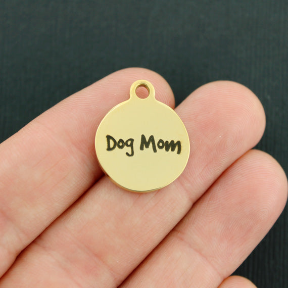 Dog Gold Stainless Steel Charm - Dog Mom - Exclusive Line - Quantity Options - BFS2204GOLD