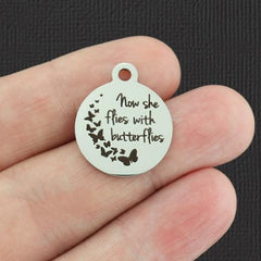 Memorial Stainless Steel Charms - Now she flies with butterflies - Exclusive Line - Quantity Options - BFS2277