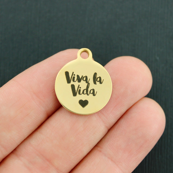 Inspirational Gold Stainless Steel Charm - Viva la Vida - Exclusive Line - Quantity Options - BFS2288GOLD