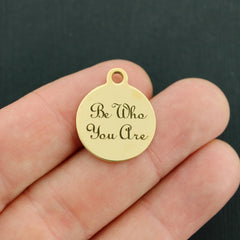Inspirational Gold Stainless Steel Charm - Be Who You Are - Exclusive Line - Quantity Options - BFS2602GOLD