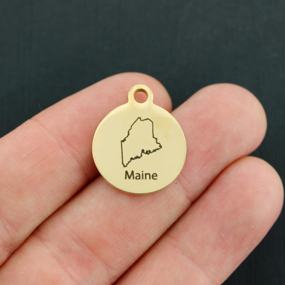 Patriotic Gold Stainless Steel Charm - Maine - Exclusive Line - Quantity Options - BFS2616GOLD