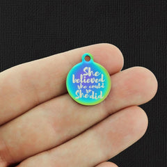 Motivational Rainbow Stainless Steel Charm - She believed she could so she did - Exclusive Line - Quantity Options - BFS2729RW