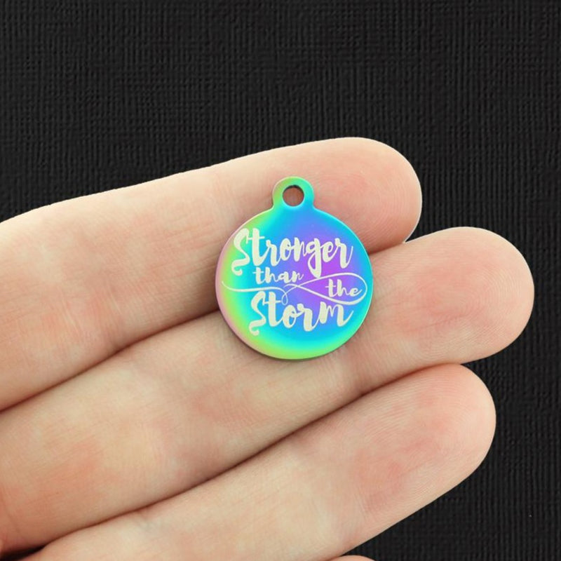 Affirmation Rainbow Stainless Steel Charm - Stronger than the storm - Exclusive Line - Quantity Options - BFS2800RW