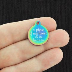Memorial Rainbow Stainless Steel Charm - A piece of my heart is in heaven - Exclusive Line - Quantity Options - BFS2926RW