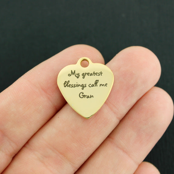 Grandmother Gold Stainless Steel Charm - My greatest blessings call me Gran - Exclusive Line - Quantity Options - BFS3347GOLD