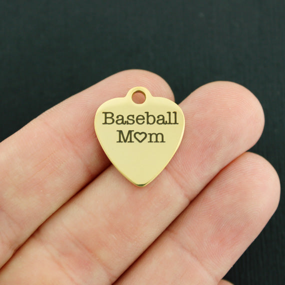Sports Mom Gold Stainless Steel Charm - Baseball Mom - Exclusive Line - Quantity Options - BFS3355GOLD