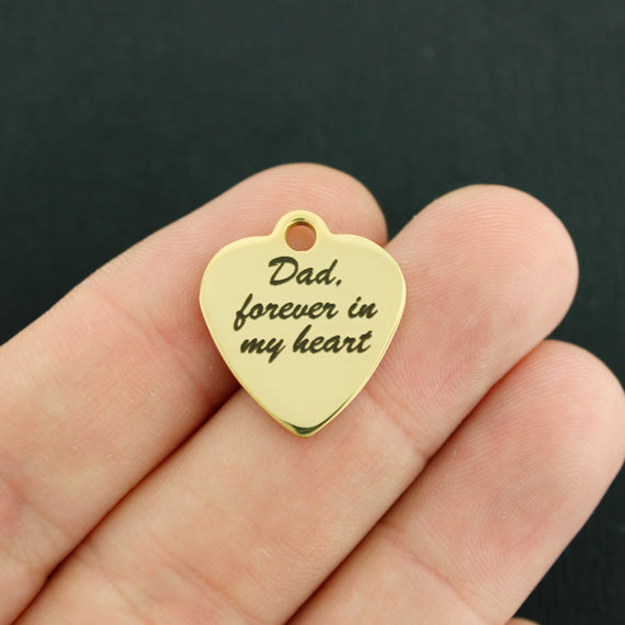 BFS2487GOLD Quantity Options Always in my heart Stainless Steel Charm