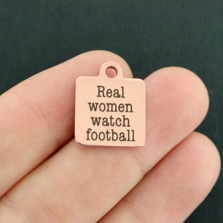 Sports Rose Gold Stainless Steel Charm - Real women watch football - Exclusive Line - Quantity Options - BFS341ROGOLD