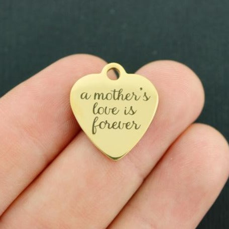 Mom Gold Stainless Steel Charm - A mother's love is forever - Exclusive Line - Quantity Options - BFS3430GOLD