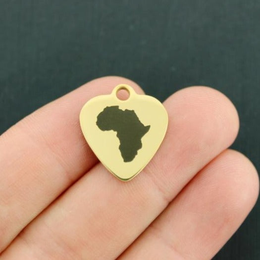 Africa Map Gold Stainless Steel Charm - Exclusive Line - Quantity Options - BFS3441GOLD