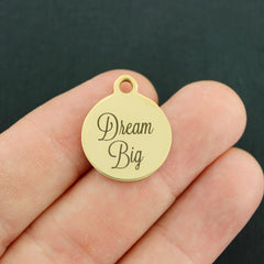 Inspirational Gold Stainless Steel Charm - Dream Big - Exclusive Line - Quantity Options - BFS3447GOLD