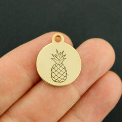Pineapple Gold Stainless Steel Charm - Exclusive Line - Quantity Options - BFS3460GOLD