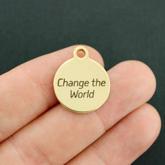 Inspirational Gold Stainless Steel Charm - Change the world - Exclusive Line - Quantity Options - BFS3472GOLD