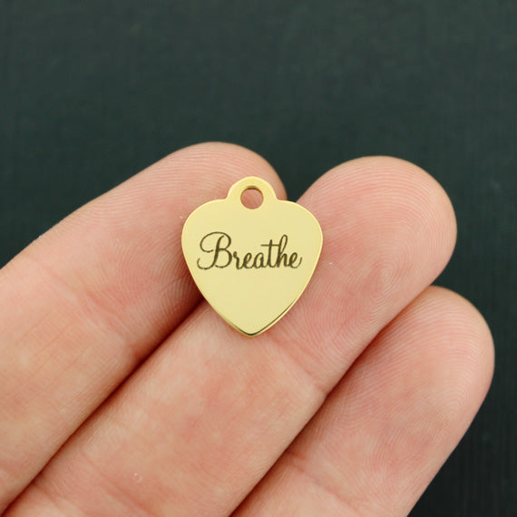 Breathe Gold Stainless Steel Charm - Smaller Size - Exclusive Line - Quantity Options - BFS3480GOLD
