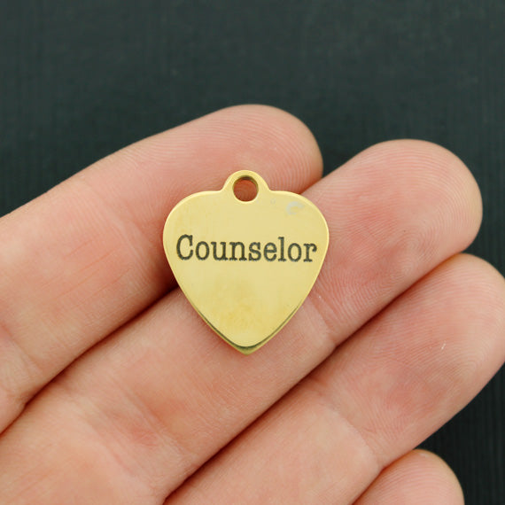 Occupational Gold Stainless Steel Charm - Counselor - Exclusive Line - Quantity Options - BFS3496GOLD