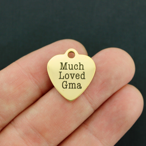 Grandmother Gold Stainless Steel Charm - Much Loved Gma - Exclusive Line - Quantity Options - BFS3558GOLD