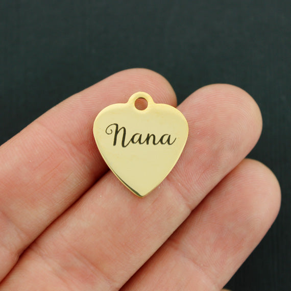 Grandmother Gold Stainless Steel Charm - Nana - Exclusive Line - Quantity Options - BFS3566GOLD