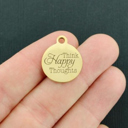 Positivity Gold Stainless Steel Charm - Think Happy Thoughts - Exclusive Line - Quantity Options - BFS3595GOLD