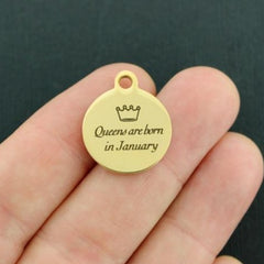 Birthday Gold Stainless Steel Charm - Queens are born in January - Exclusive Line - Quantity Options - BFS3639GOLD