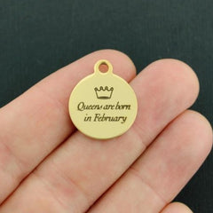 Birthday Gold Stainless Steel Charm - Queens are born in February - Exclusive Line - Quantity Options - BFS3640GOLD
