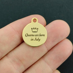 Birthday Gold Stainless Steel Charm - Queens are born in July - Exclusive Line - Quantity Options - BFS3645GOLD