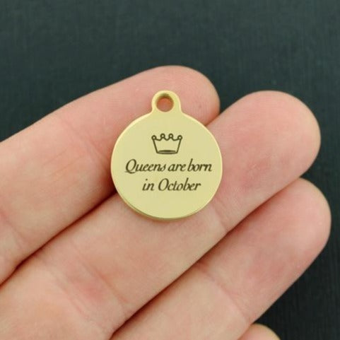 Birthday Gold Stainless Steel Charm - Queens are born in October - Exclusive Line - Quantity Options - BFS3648GOLD