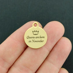 Birthday Gold Stainless Steel Charm - Queens are born in November - Exclusive Line - Quantity Options - BFS3649GOLD