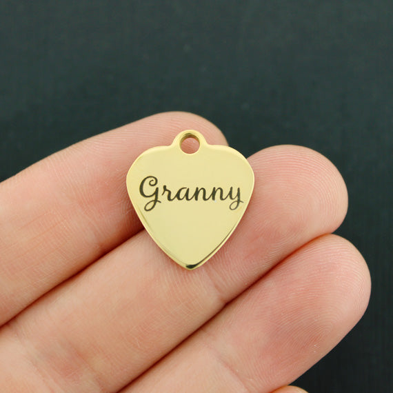 Grandmother Gold Stainless Steel Charm - Granny - Exclusive Line - Quantity Options - BFS3653GOLD