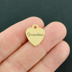Grandmother Gold Stainless Steel Charm - Grandma - Smaller Size - Exclusive Line - Quantity Options - BFS3669GOLD