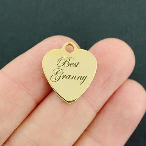 Grandmother Gold Stainless Steel Charm - Best Granny - Exclusive Line - Quantity Options - BFS3737GOLD