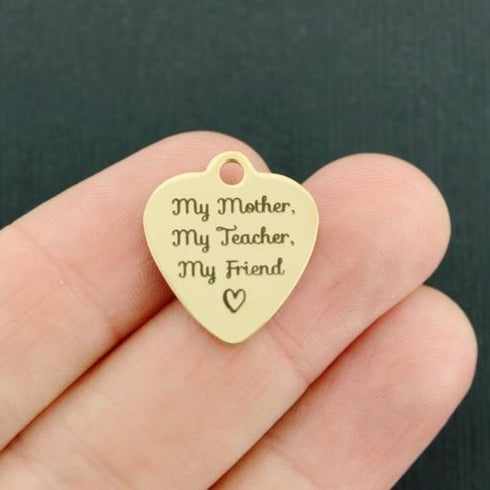 Mom Gold Stainless Steel Charm - My Mother, My Teacher, My Friend - Exclusive Line - Quantity Options - BFS3743GOLD