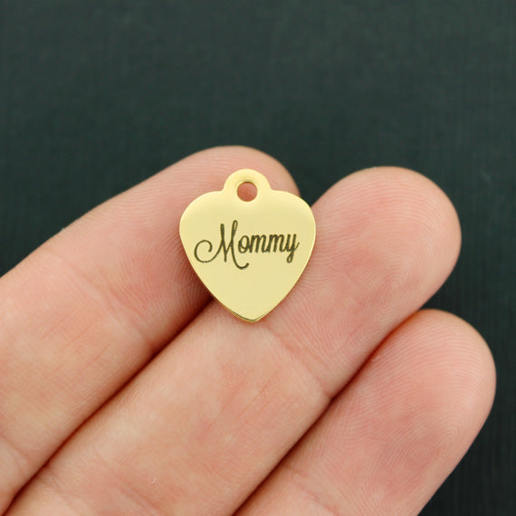 Mother Gold Stainless Steel Charm - Mommy - Smaller Size - Exclusive Line - Quantity Options - BFS3753GOLD