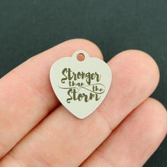 Inspirational Stainless Steel Charm - Stronger than the Storm - Exclusive Line - Quantity Options - BFS3793