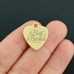 Friendship Gold Stainless Steel Charm - Best Bitches - Exclusive Line - Quantity Options - BFS3798GOLD