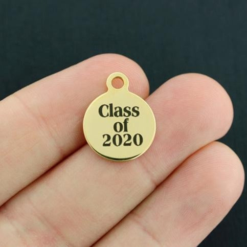 Graduation Gold Stainless Steel Charm - Class of 2020 - Smaller Size - Exclusive Line - Quantity Options - BFS3915GOLD