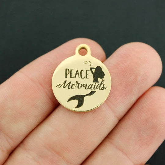 Mermaid Gold Stainless Steel Charm - Peace Mermaids - Exclusive Line - Quantity Options - BFS4059GOLD