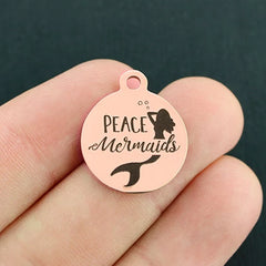 Mermaid Rose Gold Stainless Steel Charm - Peace Mermaids - Exclusive Line - Quantity Options - BFS4059ROGOLD