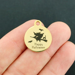 Happy Halloween Gold Stainless Steel Charm - Exclusive Line - Quantity Options - BFS4125GOLD