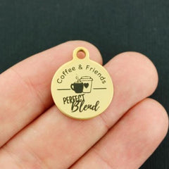 Friendship Gold Stainless Steel Charm - Coffee & Friends Perfect Blend - Exclusive Line - Quantity Options - BFS4155GOLD