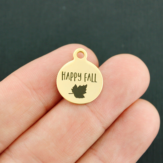 Happy Fall Gold Stainless Steel Charm - Smaller Size - Quantity Options - BFS4157GOLD