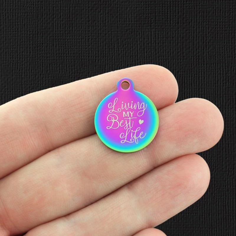 Positivity Rainbow Stainless Steel Charm - Living my best life - Exclusive Line - Quantity Options - BFS4181RW