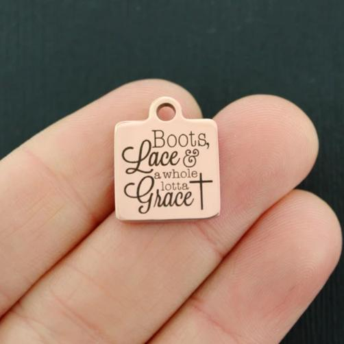 Religious Rose Gold Stainless Steel Charm - Boots, lace & a whole lotta grace - Exclusive Line - Quantity Options - BFS4197ROGOLD
