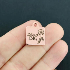 Dream Big Rose Gold Stainless Steel Charm - Dreamcatcher - Exclusive Line - Quantity Options - BFS4211ROGOLD