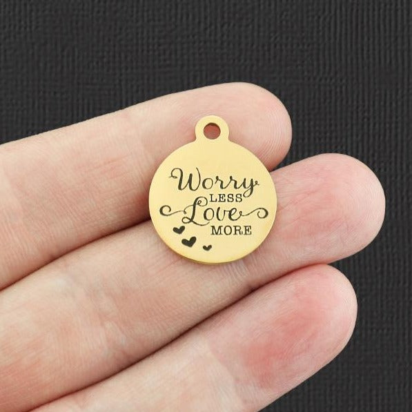 Positivity Gold Stainless Steel Charm - Worry Less Love More - Exclusive Line - Quantity Options - BFS4426GOLD