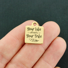 Positivity Gold Stainless Steel Charm - Your vibe attracts your tribe - Exclusive Line - Quantity Options - BFS4435GOLD