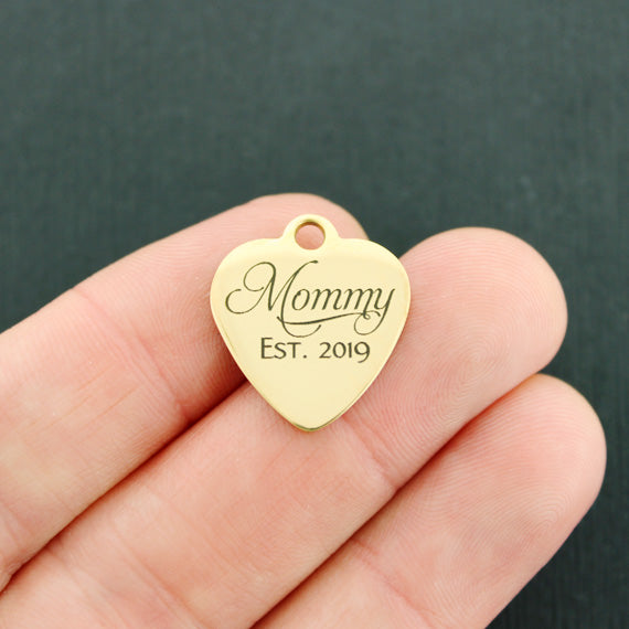 Mom Gold Stainless Steel Charm - Mommy Est. 2019 - Exclusive Line - Quantity Options - BFS4454GOLD